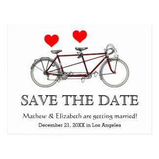 Vintage Cute Tandem Bicycle Wedding Save The Date Postcard