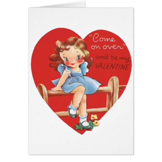 Vintage Cute Valentine's Day, Girl on Fence Card