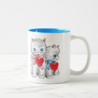 Vintage Cute Valentine's Day, Retro Kitten Cats Two-Tone Coffee Mug