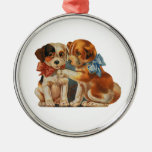 Vintage Cute Valentine's Puppy Love, Two Dog Mutts Silver-Colored Round Decoration