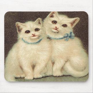 Vintage Cute White Kittens Mousepads