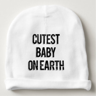 Vintage Cutest Baby On Earth Words Baby Beanie