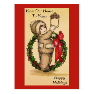 "Vintage ""Cutie"" and Holiday Wreath Postcard"