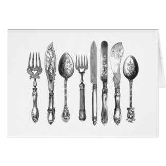 Vintage Cutlery Black White Fork Spoon Knife 1800s Card