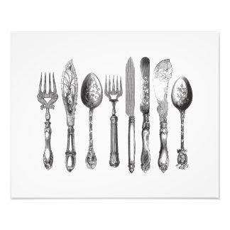 Vintage Cutlery Black White Fork Spoon Knife 1800s Photo Print