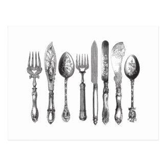 Vintage Cutlery Black White Fork Spoon Knife 1800s Postcard