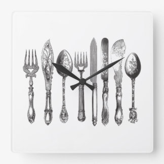 Vintage Cutlery Black White Fork Spoon Knife 1800s Square Wall Clock