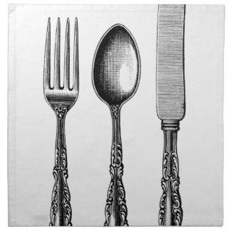 Vintage Cutlery Illustration Napkin