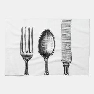 Vintage Cutlery Illustration Tea Towel