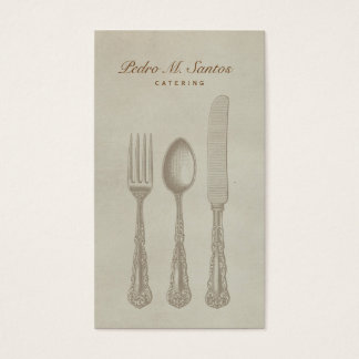 Vintage Cutlery Plain Simple Catering Professional Business Card