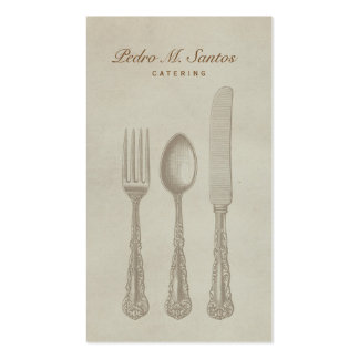 Vintage Cutlery Plain Simple Catering Professional Pack Of Standard Business Cards