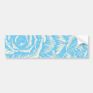 Vintage cyan blue roses floral bumper sticker car bumper sticker