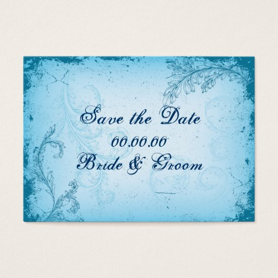 Vintage cyan blue scroll leaf Save the Date