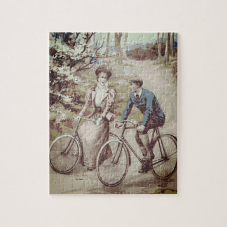 Vintage Cycling Bicycle Print Jigsaw Puzzle