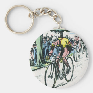 Vintage Cycling Print Key Ring