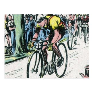 Vintage Cycling Print Postcard