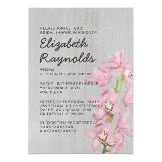 Vintage Cymbidium Orchid Bridal Shower Invitations