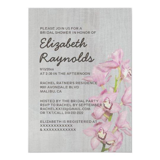 Vintage Cymbidium Orchid Bridal Shower Invitations