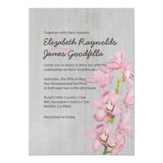 Vintage Cymbidium Orchid Wedding Invitations