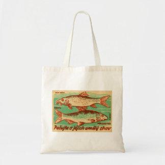 Vintage Czech Czechlovalkia Fish Match Box Label Budget Tote Bag
