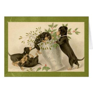 Vintage dachshund dogs christmas holiday card