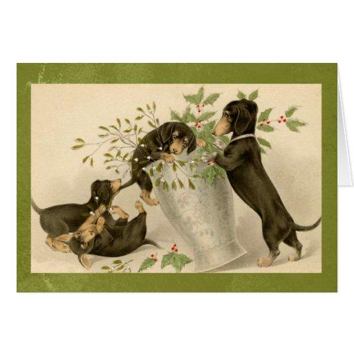 Vintage dachshund dogs christmas holiday card