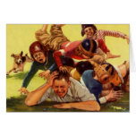 Vintage Dad Playing Football w Kids and Family Dog Greeting Card