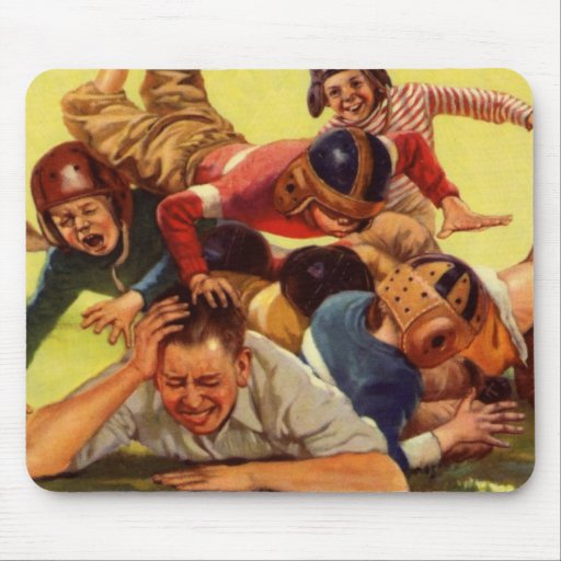 Vintage Dad Playing Football w Kids and Family Dog Mousepad