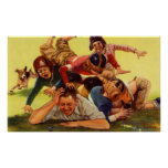 Vintage Dad Playing Football w Kids and Family Dog Poster