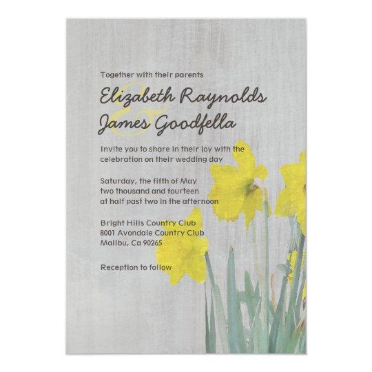 Vintage Daffodils Wedding Invitations
