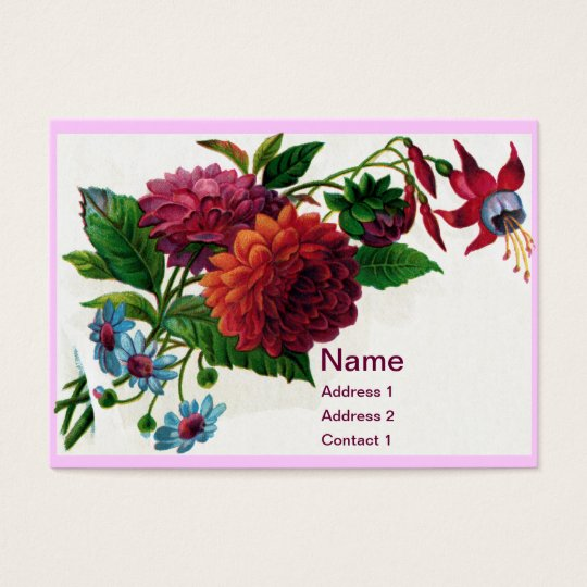 Vintage Dahlias and Fuchsias Business Card