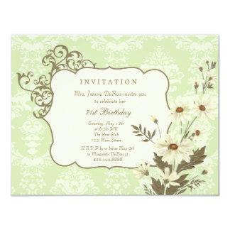 Vintage Daisies 70th-79th Elegant Birthday Party 11 Cm X 14 Cm Invitation Card