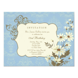 Vintage Daisies 70th-79th Elegant Birthday Party 4.25x5.5 Paper Invitation Card