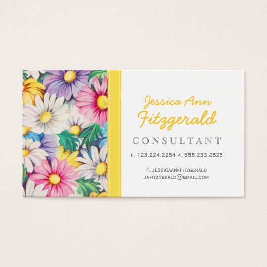 Vintage Daisies Floral Retro Pattern Business Card