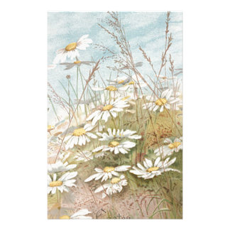 Vintage Daisies In A Field Easter Card Custom Stationery