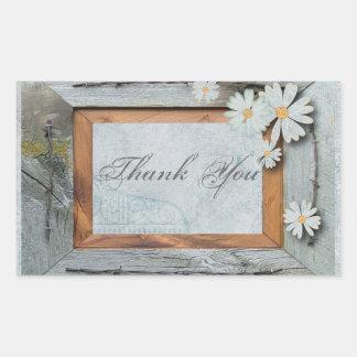 Vintage Daisy blue barnwood frame Country thankyou Rectangular Sticker