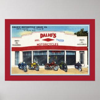 Vintage Dalio s Motorcycles Fort Worth Print