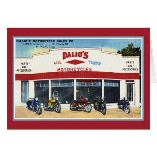 Vintage Dalio's Motorcycles Fort Worth Greeting Card