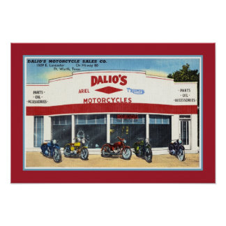 Vintage Dalio's Motorcycles Fort Worth Poster