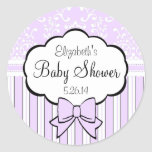 Vintage Damask and Stripes-Lavender Baby Shower Round Stickers