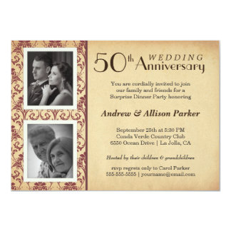 Vintage Damask Anniversary Double Photo Invitation