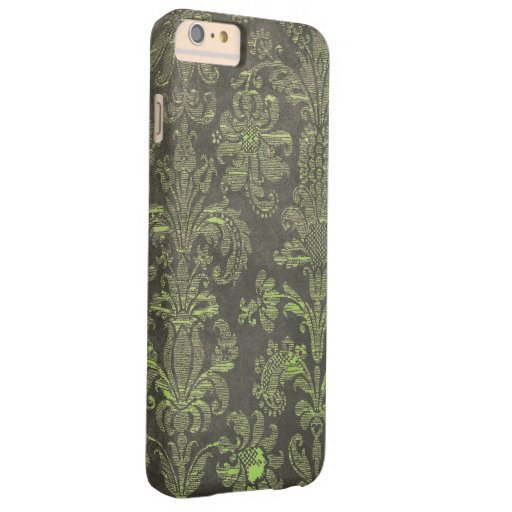 Vintage Damask Black and Green Barely There iPhone 6 Plus Case