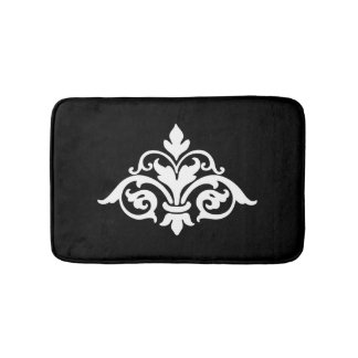 Vintage Damask Black and White Bathmat