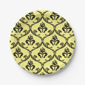 Vintage Damask Black And Yellow Floral Paper Plate