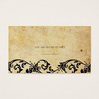 Vintage Damask Black Swirl Wedding Placecards Business Card