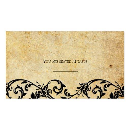 Vintage Damask Black Swirl Wedding Placecards Pack Of Standard Business Cards