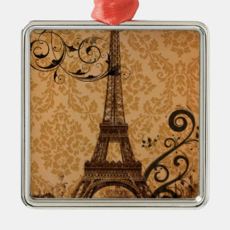 vintage damask Bohemian Chic Paris Eiffel Tower Silver-Colored Square Decoration