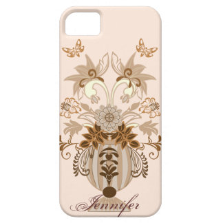 Vintage damask bouquet with Name iPhone 5 Cases