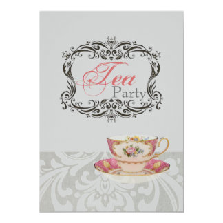 vintage damask bridal shower tea party card