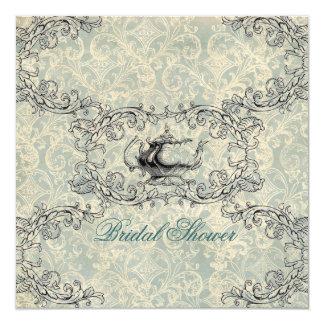 "vintage damask Bridal Shower Tea Party Invitation 5.25"" Square Invitation Card"